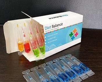 Открытая упаковка ампул dietbalance